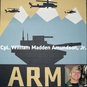 Army mural at Combined Arms. Cpl William Madden Amundson, Jr. Memorial Day 2019.