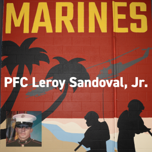 Marines mural at Combined Arms. PFC Leroy Sandoval, Jr. Memorial Day 2019.